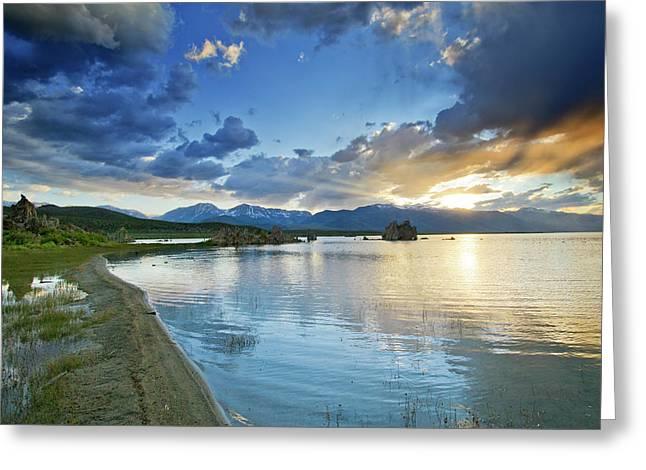 Reflecting Water Greeting Cards - Mono Lake Majesty - California Greeting Card by Brendan Reals
