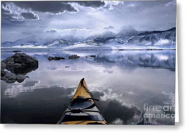 Mono Greeting Cards - Mono Lake Winter Kayak Greeting Card by Brian Ernst