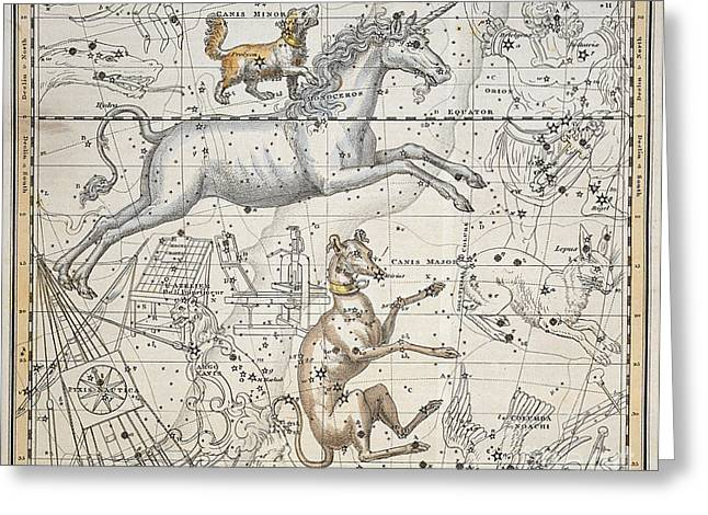 Star Chart Greeting Cards - Monoceros Greeting Card by A Jamieson
