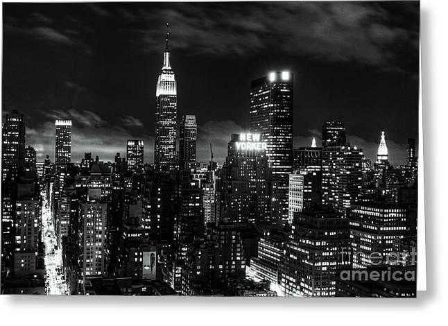 Monochrome City Greeting Card by Andrew Paranavitana
