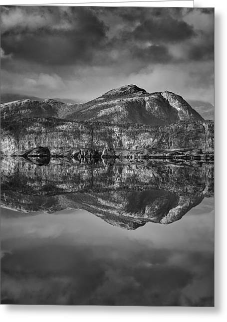 Nord Greeting Cards - Monochrome Mountain Reflection Greeting Card by Andy Astbury