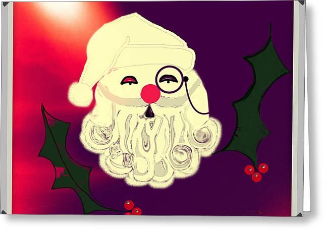 Monocle Santa Greeting Card by Jan Steadman-Jackson