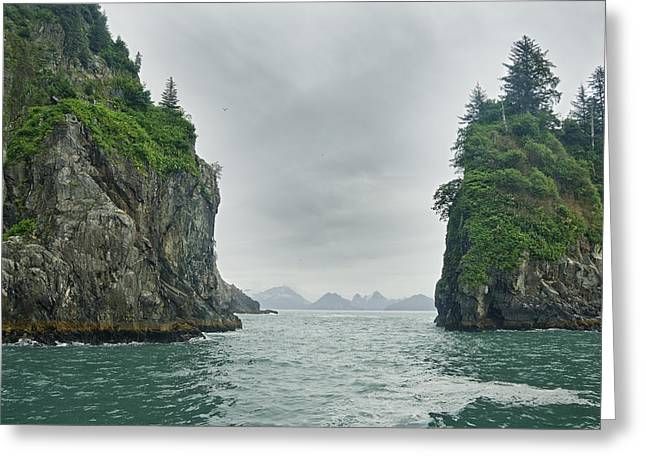 Monolith Greeting Cards - Monoliths In Aialik Cape On A Foggy Greeting Card by James Forte
