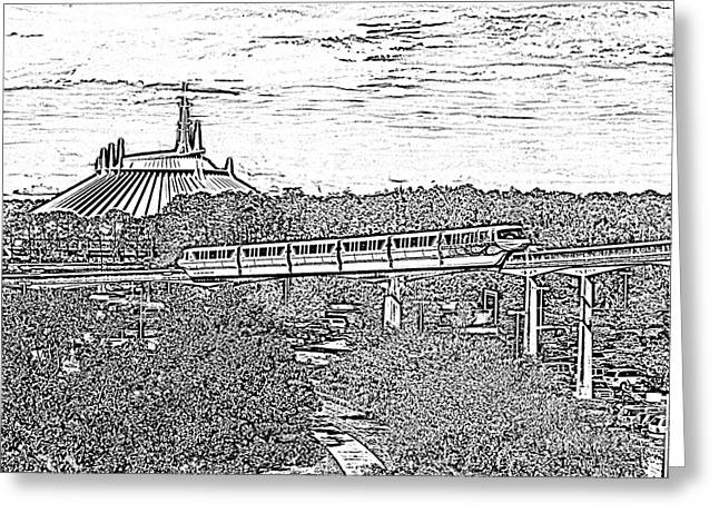 Photocopy Greeting Cards - Monorail and Space Mountain Magic Kingdom Walt Disney World Prints Black and White Photocopy Greeting Card by Shawn O