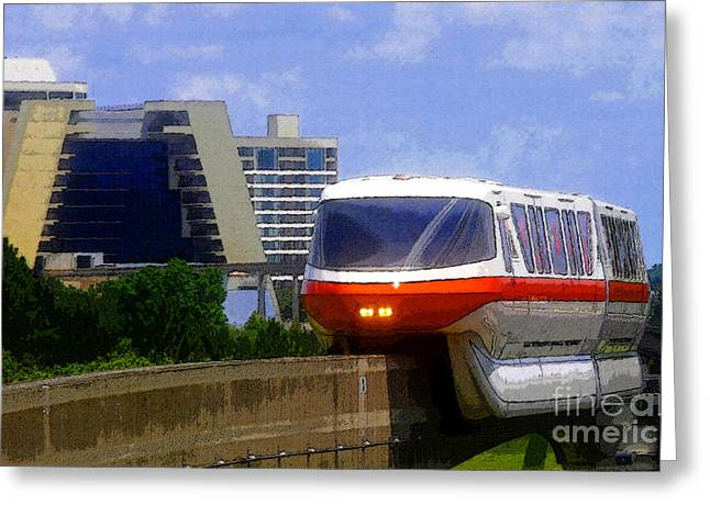 Theme Park Greeting Cards - Monorail Greeting Card by David Lee Thompson