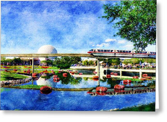 Future World Greeting Cards - Monorail Red - Coming Round the Bend Greeting Card by Sandy MacGowan