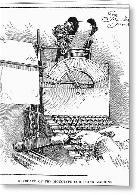 Monotype Machine, 1897 Greeting Card by Granger