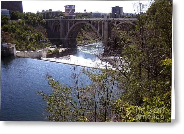 Spokane Greeting Cards - Monroe Street Bridge Spokane River Greeting Card by Ann Powell