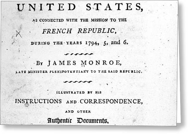 MONROE: TITLE PAGE, 1798 Greeting Card by Granger