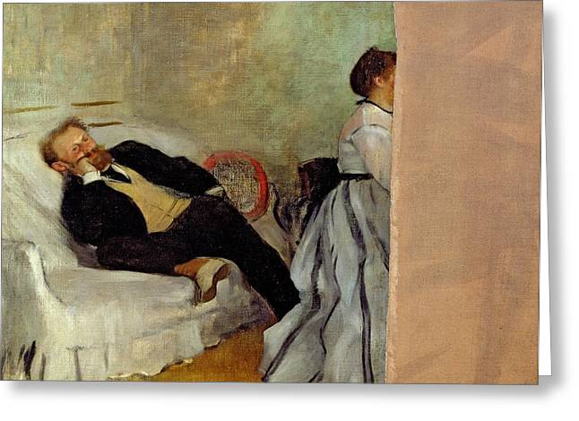 Bored Greeting Cards - Monsieur and Madame Edouard Manet Greeting Card by Edgar Degas
