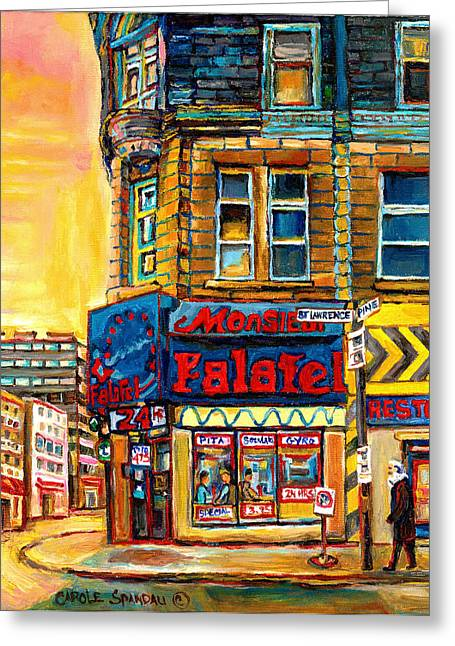 Classical Montreal Scenes Greeting Cards - Monsieur Falafel Greeting Card by Carole Spandau