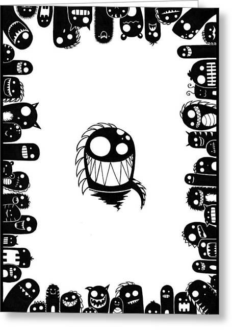 Dinosaurs Drawings Greeting Cards - Monster Army Greeting Card by Kalie Hoodhood