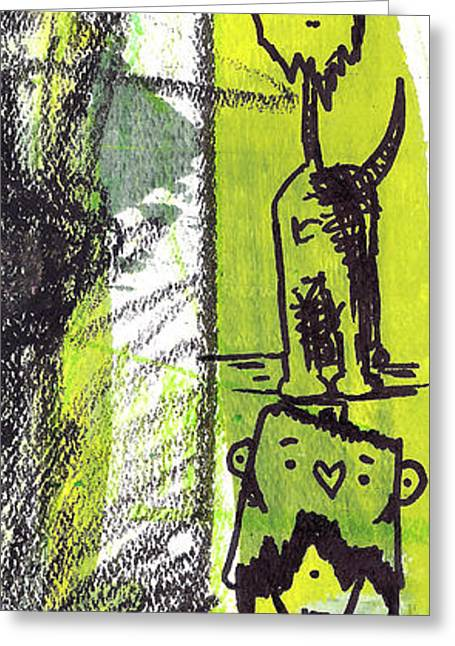 Lime Drawings Greeting Cards - Monster Totem Greeting Card by Jera Sky