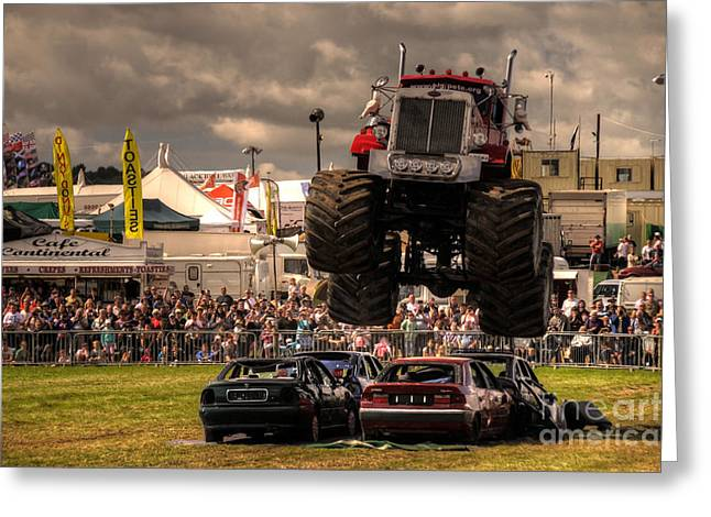 Rally Greeting Cards - Monster Truck Destruction  Greeting Card by Rob Hawkins