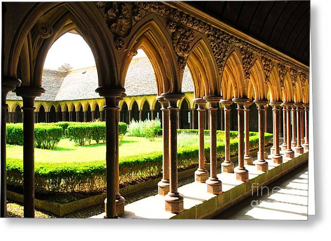 Fortification Greeting Cards - Mont Saint Michel Cloister Greeting Card by Elena Elisseeva