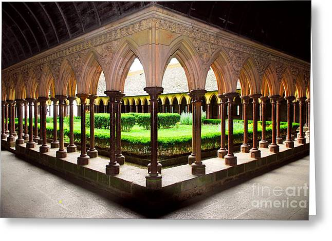 Cloister Greeting Cards - Mont Saint Michel cloister garden Greeting Card by Elena Elisseeva