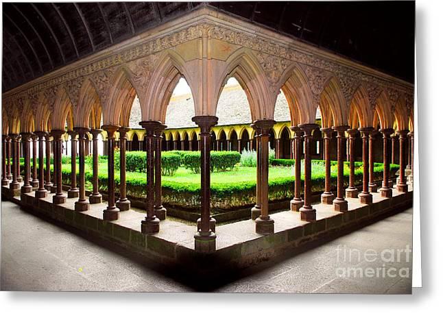 Mont Saint Michel cloister garden Greeting Card by Elena Elisseeva