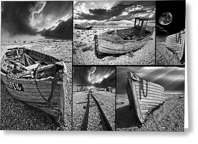 montage of wrecked boats Greeting Card by Meirion Matthias