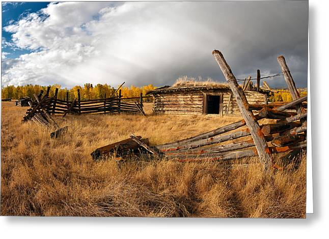 Old Cabins Greeting Cards - Montana History Greeting Card by Leland D Howard