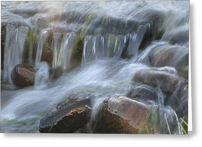 Stream Pyrography Greeting Cards - Montana Waterfall Greeting Card by Kristy Marsich