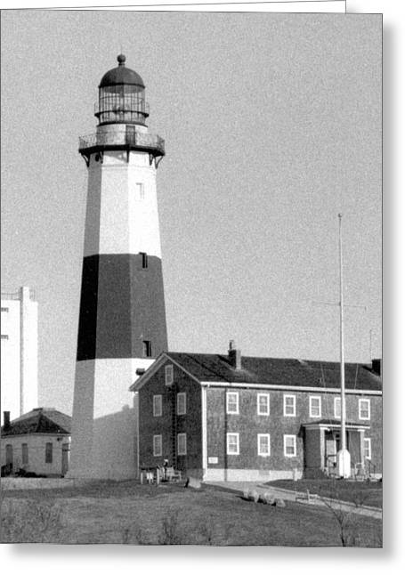Long Island Photographs Greeting Cards - Montauk Light Black and White  Greeting Card by Christopher Kirby