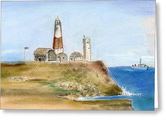 York Beach Pastels Greeting Cards - Montauk Lighthouse Greeting Card by Barbara Gulotta