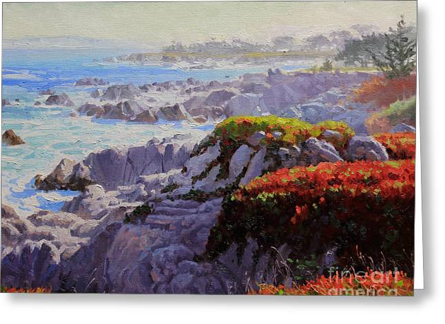 Seagull Flying Greeting Cards - Monteray Bay morning 2 Greeting Card by Gary Kim