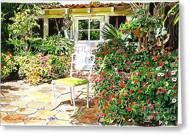 Garden Chairs Greeting Cards - Monterey Guest House Greeting Card by David Lloyd Glover