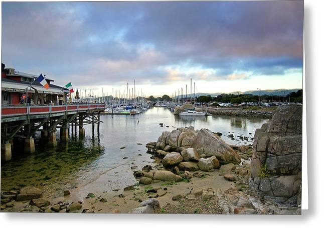 Monterey Harbor - Old Fishermans Wharf - California Greeting Card by Brendan Reals