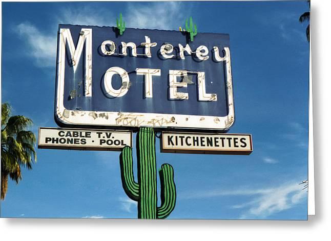 Bule Greeting Cards - Monterey Motel Greeting Card by Matthew Bamberg