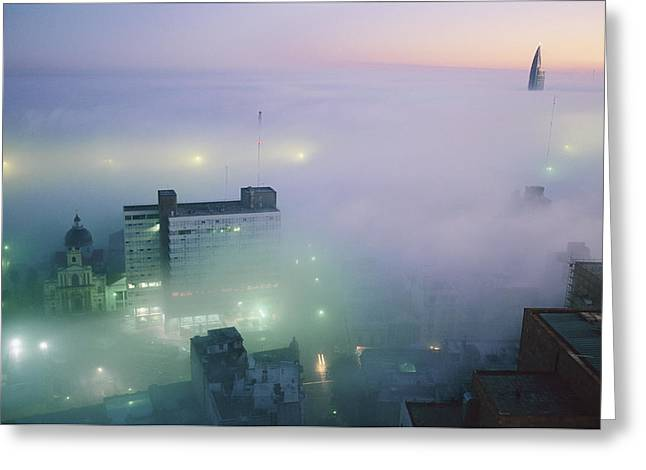 Uruguay Greeting Cards - Montevideo, Uruguay, In Predawn Fog Greeting Card by Pablo Corral Vega