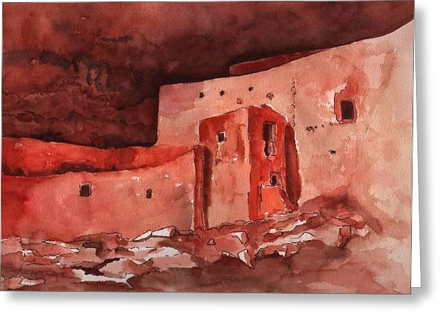 Castle In Valley Greeting Cards - Montezumas Castle Greeting Card by Sharon Mick
