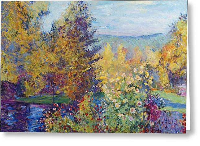 Nature Scene Paintings Greeting Cards - Montgeron  Garden Sur les Traces de Monet  Greeting Card by David Lloyd Glover