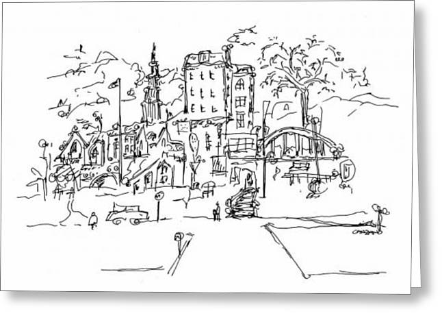 Pen And Paper Drawings Greeting Cards - Montmarte Greeting Card by Pamela Canzano