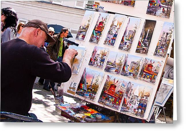 Artists Colony Greeting Cards - Montmartre Street Artists Greeting Card by Jon Berghoff