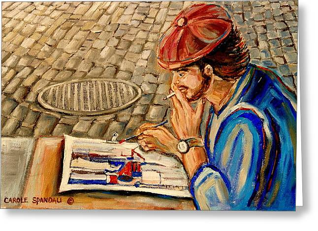 Old Man With Beard Greeting Cards - Montreal  Artist Greeting Card by Carole Spandau