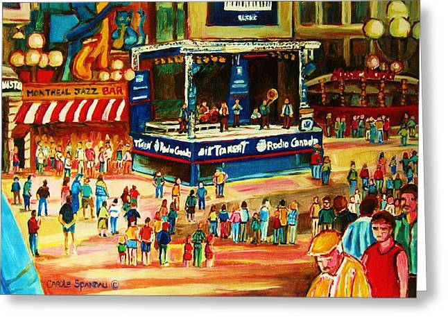 Classical Montreal Scenes Greeting Cards - Montreal Jazz Festival Greeting Card by Carole Spandau