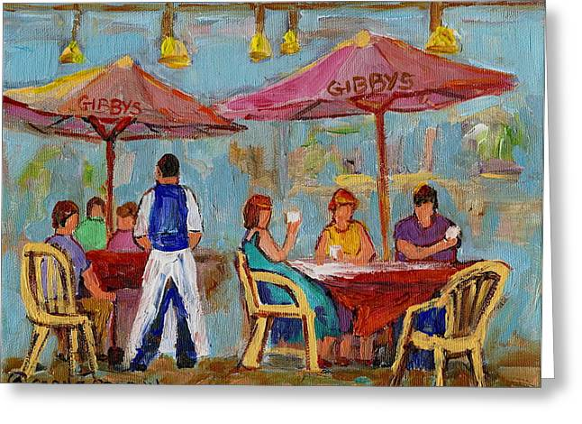 MONTREAL OUTDOOR TERRACE CAFE CITY SCENE Greeting Card by CAROLE SPANDAU