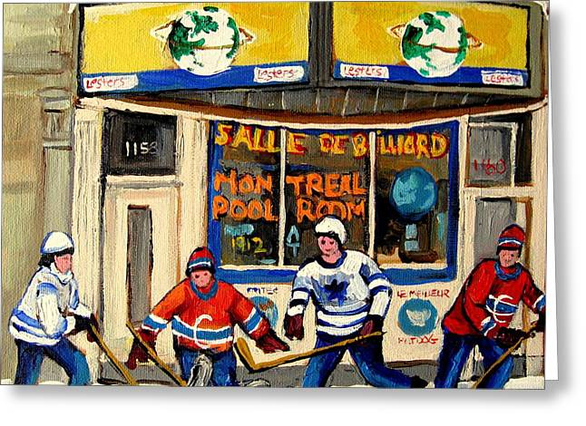 Snow Fun Hockey Ice Winter People City Cityscape Abstract Texture Expressionism Cement Landscape Greeting Cards - Montreal Poolroom Hockey Fans Greeting Card by Carole Spandau