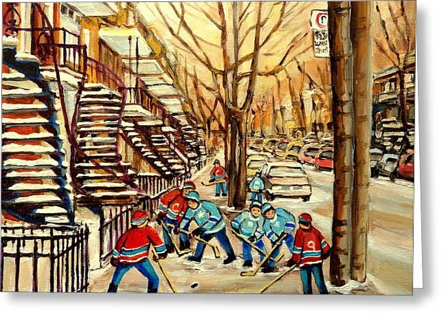 MONTREAL STREET HOCKEY PAINTINGS Greeting Card by CAROLE SPANDAU