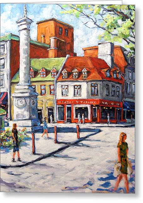 Montreal City Scapes Greeting Cards - Montreal Street Urban Scene by Prankearts Greeting Card by Richard T Pranke