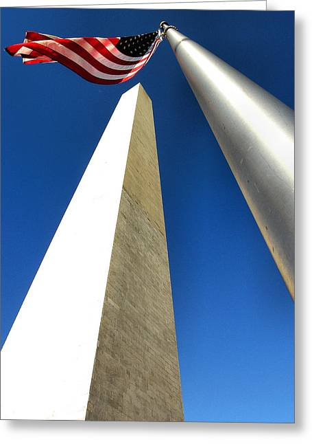 Patriotic Greeting Card Greeting Cards - Monument Rising Greeting Card by Steven Ainsworth