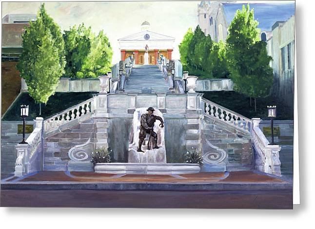 Veterans Memorial Paintings Greeting Cards - Monument Terrace Greeting Card by J Luis Lozano