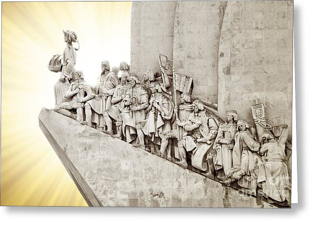 Backlit Greeting Cards - Monument to discoveries Greeting Card by Carlos Caetano