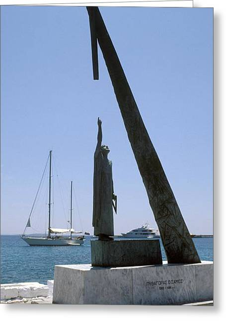 Pythagoras Greeting Cards - Monument To Pythagoras Of Samos Greeting Card by Detlev Van Ravenswaay