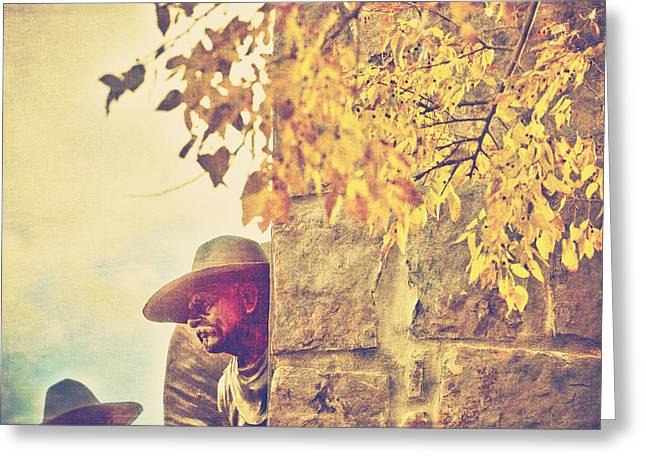 Western Life Greeting Cards - Monument to the cowboy Greeting Card by Toni Hopper