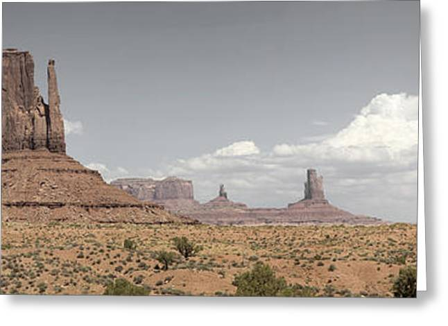 Nature Pyrography Greeting Cards - Monument Valley Desert Large Panorama Greeting Card by Mike Irwin