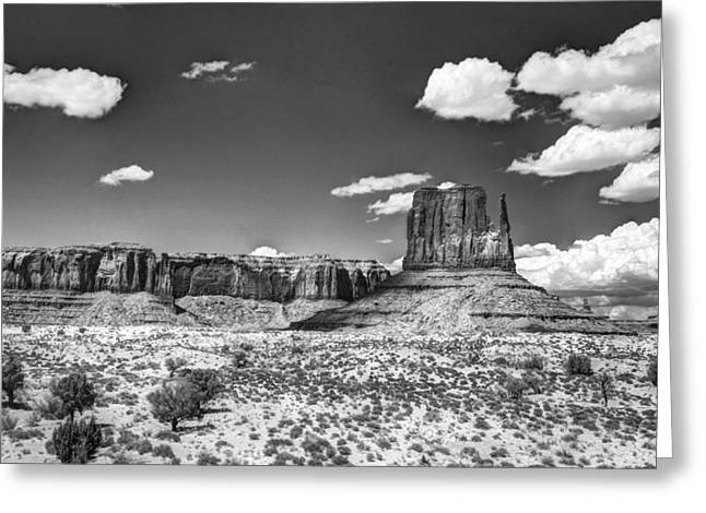 White Mittens Greeting Cards - Monument Valley in Monochrome  Greeting Card by Saija  Lehtonen