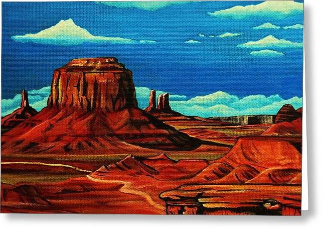 Arizona Contemporary Cowboy Greeting Cards - Monument Valley Greeting Card by Lucy Deane