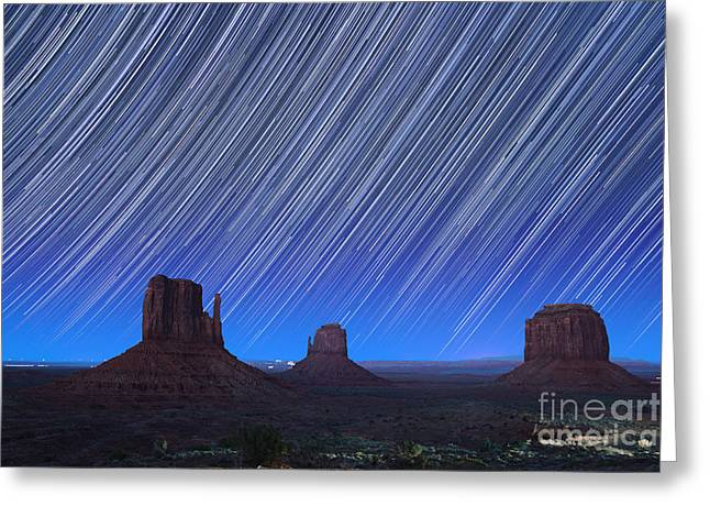 Rotation Photographs Greeting Cards - Monument Valley Star Trails 1 Greeting Card by Jane Rix